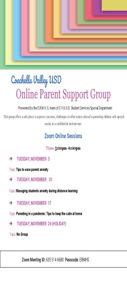 Online Parent Support Group- Special education